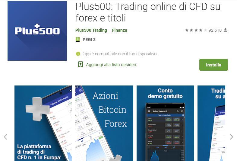 applicazione trading plus500