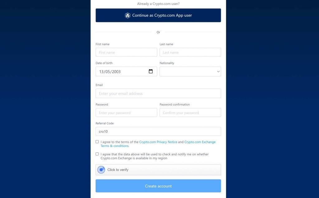 crypto.com registrazione